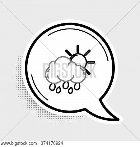 Line Cloud With Rain And Sun Icon Isolated On Grey Background. Rain Cloud Precipitation With Rain Dr