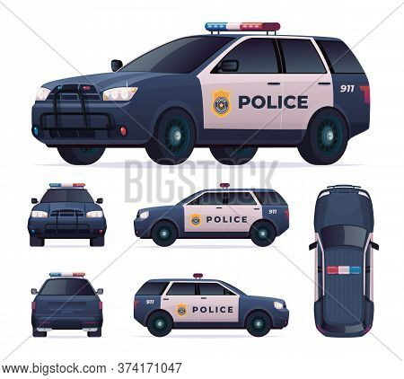 Police Car Set. Patrol Official Vehicle, Cop Automobile Chase And Pursuit Criminals. View Front, Rea