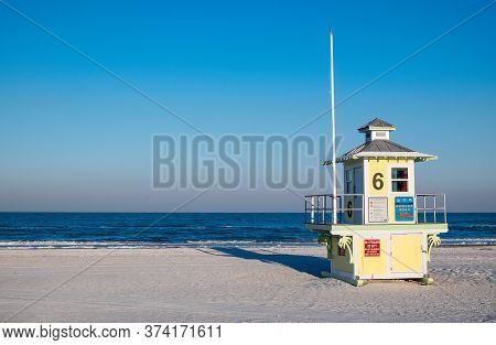Lifegaurd Shack 6 In The Arly Morning Light On The Gulf Coast