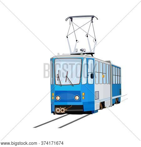 Tram Isolated On White Background. Blue Tram With. City Trolley. Cartoon Modern Public Transport. Pa
