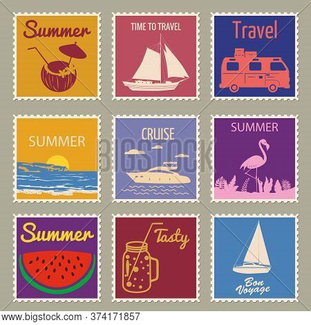Set Postage Stamp Summer Vacation Sunset Watermelon Jar Yacht Van Sailboat Flamingo. Retro Vintage D
