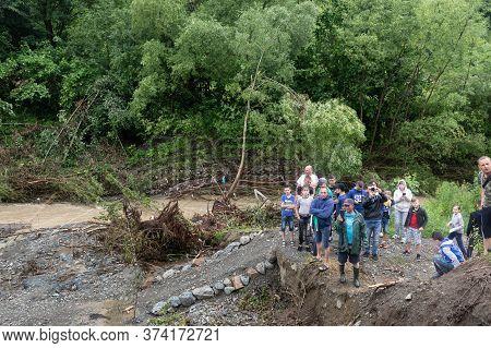Carpathian Reg. Ukraine - 28 Jun. 2020: Catastrophic Flood In The Western Regions Of Ukraine. People