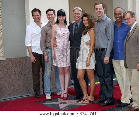 LOS ANGELES - OCT 30:  M Weatherly, Brian Dietzen, P Perrette, Mark Harmon, Cote de Pablo, Sean Murray, R Carroll at the Hollywood WOF Ceremony for Mark Harmon on October 30, 2012 in Los Angeles, CA