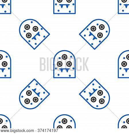 Line Alien Icon Isolated Seamless Pattern On White Background. Extraterrestrial Alien Face Or Head S