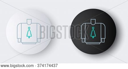 Line Christmas Sweater With Norwegian Ornaments And Holidays Decorations Icon Isolated On Grey Backg