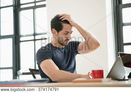 Portrait Of Freelancer Or Office Man Having Headaches, Stressful Of Work, Depressed Or Having A Feve