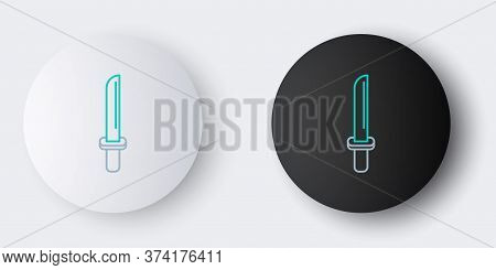 Line Traditional Japanese Katana Icon Isolated On Grey Background. Japanese Sword. Colorful Outline