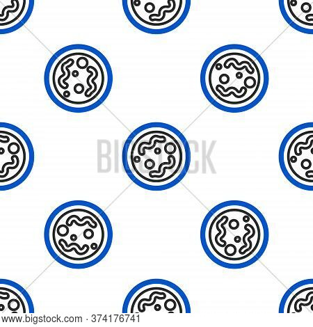 Line Bacteria Icon Isolated Seamless Pattern On White Background. Bacteria And Germs, Microorganism
