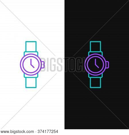 Line Wrist Watch Icon Isolated On White And Black Background. Wristwatch Icon. Colorful Outline Conc