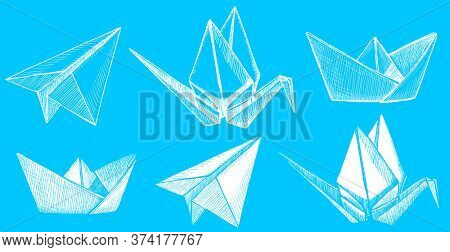 Origami plane, crane and boat, graphic sketch illustration of a folded paper craft style items, rasterized version