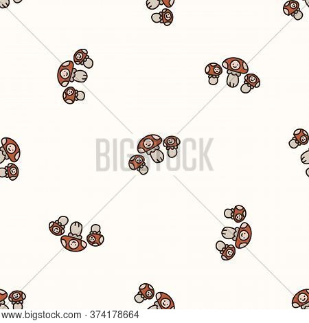 Seamless Background Toadstool With Kawaii Face Gender Neutral Baby Pattern. Simple Whimsical Minimal