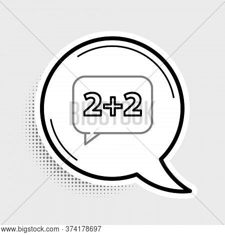 Line Math System Of Equation Solution On Speech Bubble Icon Isolated On Grey Background. Colorful Ou