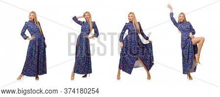 Young woman in blue floral dress isolated on white