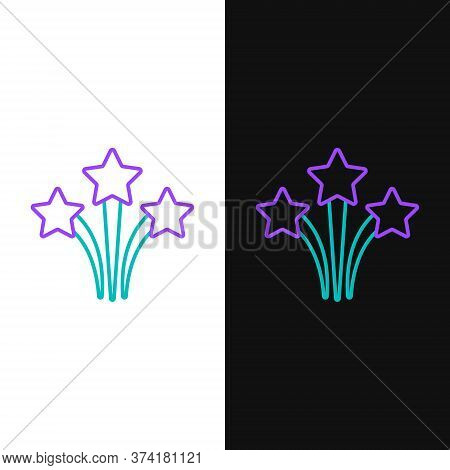 Line Firework Icon Isolated On White And Black Background. Concept Of Fun Party. Explosive Pyrotechn