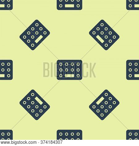 Blue Pills In Blister Pack Icon Isolated Seamless Pattern On Yellow Background. Medical Drug Package