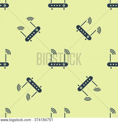 Blue Router And Wi-fi Signal Symbol Icon Isolated Seamless Pattern On Yellow Background. Wireless Et