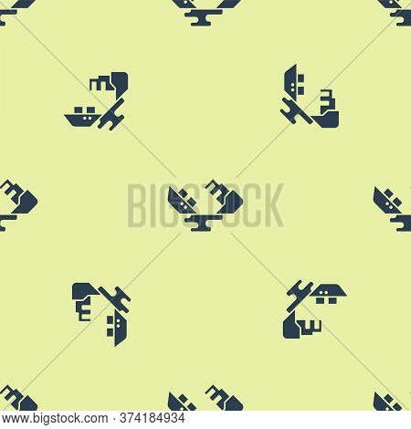 Blue Wrecked Oil Tanker Ship Icon Isolated Seamless Pattern On Yellow Background. Oil Spill Accident
