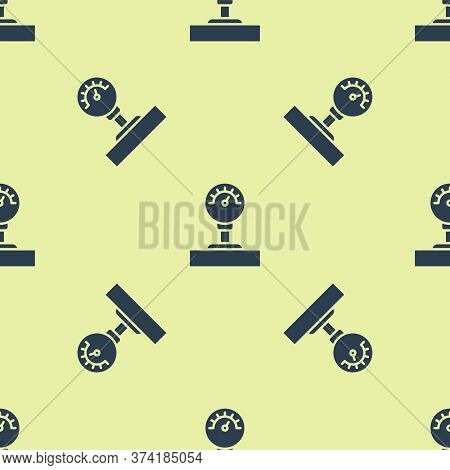 Blue Gauge Scale Icon Isolated Seamless Pattern On Yellow Background. Satisfaction, Temperature, Man