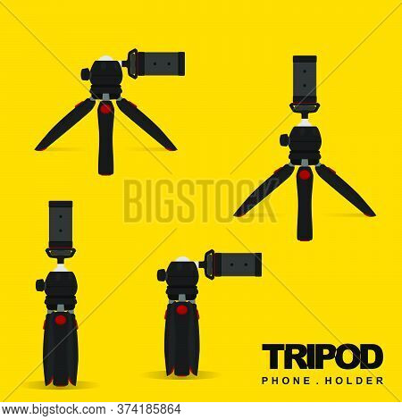 Mini Tripod (phone Holder) For Mobile Vector Illustration. Perfect Template For Photography Design.