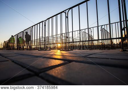 Portable Welded Steel Frame Fences On Street To Control Crowd Flow.