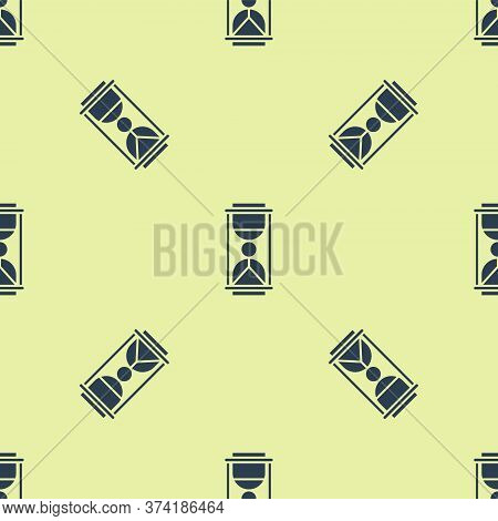 Blue Old Hourglass With Flowing Sand Icon Isolated Seamless Pattern On Yellow Background. Sand Clock