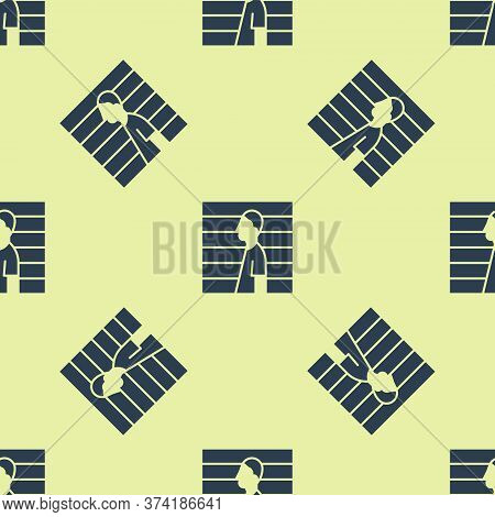 Blue Suspect Criminal Icon Isolated Seamless Pattern On Yellow Background. The Criminal In Prison, S