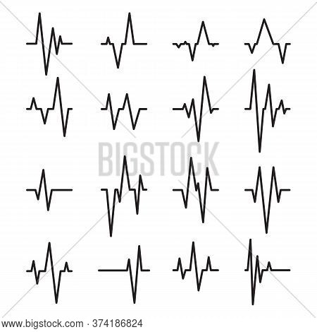 Pulse Lines Set. Heartbeat Rate, Ekg Diagram, Earthquake. Vector Illustrations For Seismic Monitorin