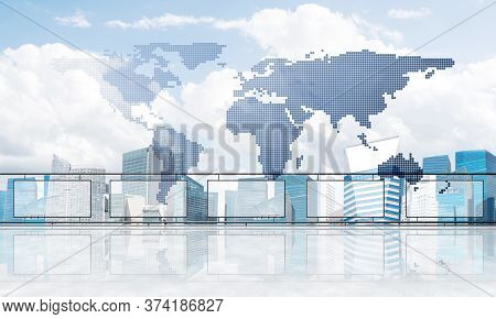 Empty Balcony With Glass Parapet Over Modern Cityscape And Connection Lines. 3d Rendering