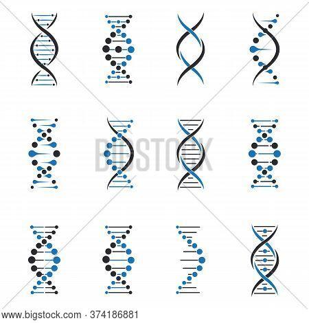 Dna Molecule Set. Helix Model, Chromosome Structure, Gene Science. Vector Illustrations For Chemistr