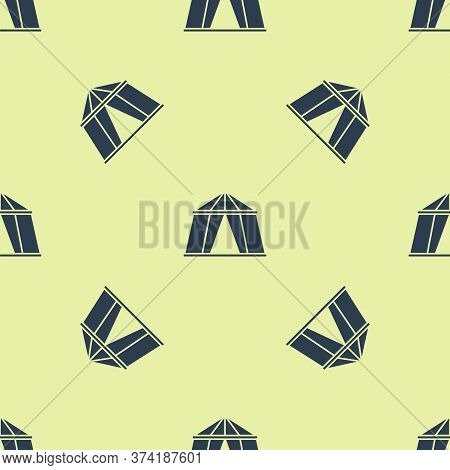 Blue Circus Tent Icon Isolated Seamless Pattern On Yellow Background. Carnival Camping Tent. Amuseme