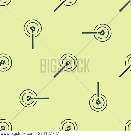 Blue Magic Wand Icon Isolated Seamless Pattern On Yellow Background. Star Shape Magic Accessory. Mag