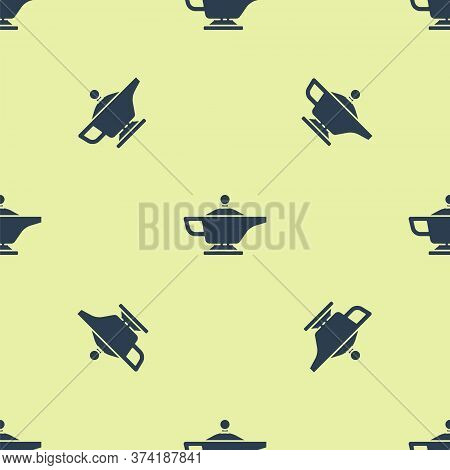 Blue Magic Lamp Or Aladdin Lamp Icon Isolated Seamless Pattern On Yellow Background. Spiritual Lamp