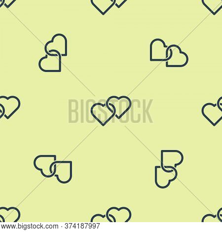 Blue Two Linked Hearts Icon Isolated Seamless Pattern On Yellow Background. Romantic Symbol Linked,