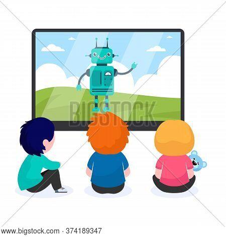 Children Watching Cartoon With Robot. Tv, Screen, Toy Flat Vector Illustration. Childhood And Digita