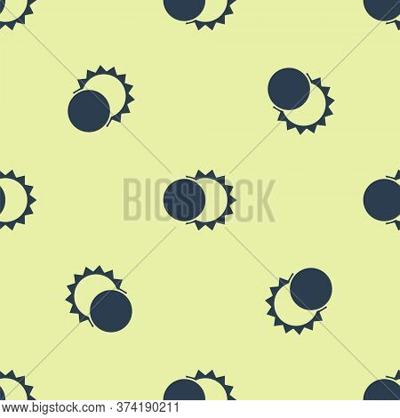 Blue Eclipse Of The Sun Icon Isolated Seamless Pattern On Yellow Background. Total Sonar Eclipse. Ve