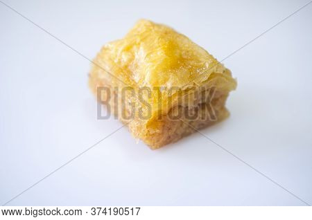 Special Turkish Dessert Is Kadayif. Isolated Over White Background