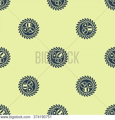 Blue Easter Egg In A Wicker Nest Icon Isolated Seamless Pattern On Yellow Background. Happy Easter.