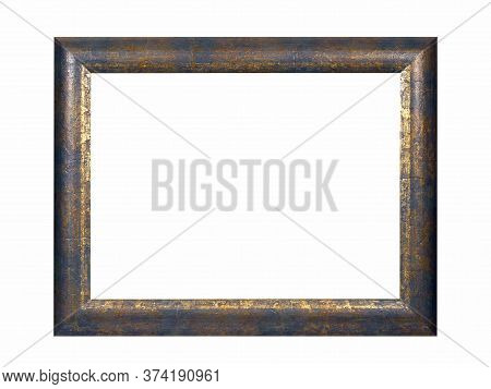 Old Empty Grey Wooden Frame For Paintings With Gold Patina. Isolated On White Background