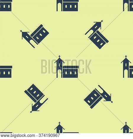 Blue Church Building Icon Isolated Seamless Pattern On Yellow Background. Christian Church. Religion