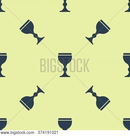 Blue Wine Glass Icon Isolated Seamless Pattern On Yellow Background. Wineglass Icon. Goblet Symbol.