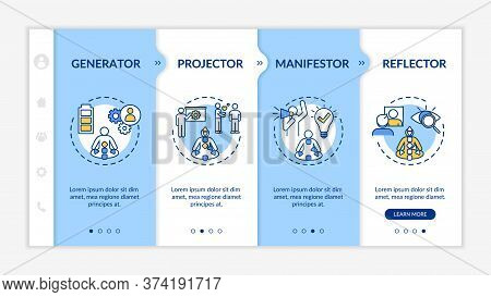 Human Design Classification Onboarding Vector Template. Individuality Types. Psychological Knowledge