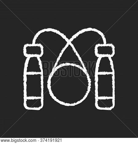 Jump Rope Chalk White Icon On Black Background. Home Workout Equipment, Healthy Lifestyle. Sport Gea