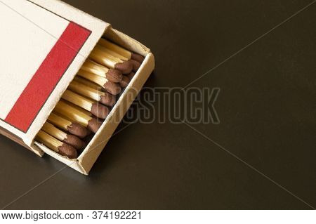 Openning Box With Match On Black Background.the Paper Box From Paperboard.wooden Sticks With Sulphur