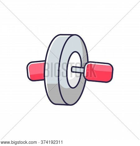 Ab Roll Rgb Color Icon. Sport Gear For Workout At Home. Athletic Gym Equipment. Rolling Wheel For Ab
