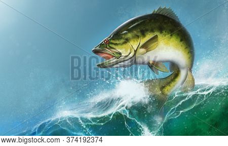 Largemouth Bass Jumps Out Of Water Realistic Illustration. Big Bass Perch Fishing In The Usa On A Ri