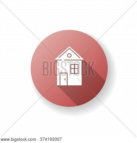 House Red Flat Design Long Shadow Glyph Icon. Suburban Building. Home For Living. Downtown Dwelling.
