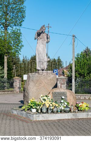 Sniadowo, Poland - June 2, 2020: Statue Of Pope John Paul Ii.