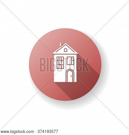 Home Red Flat Design Long Shadow Glyph Icon. Suburban House. Modern Family Home For Sale. Downtown D