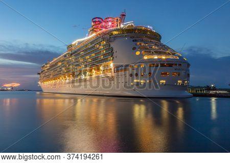 Nassau, Bahamas - August 24, 2019: Beautiful Blue Hour Shot Of Royal Caribbean's Mariner Of The Seas