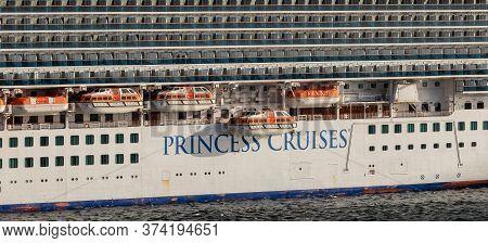 Carlisle Bay, Barbados, West Indies - May 16, 2020: Close View Of Emerald Princess Cruise Ship's Por